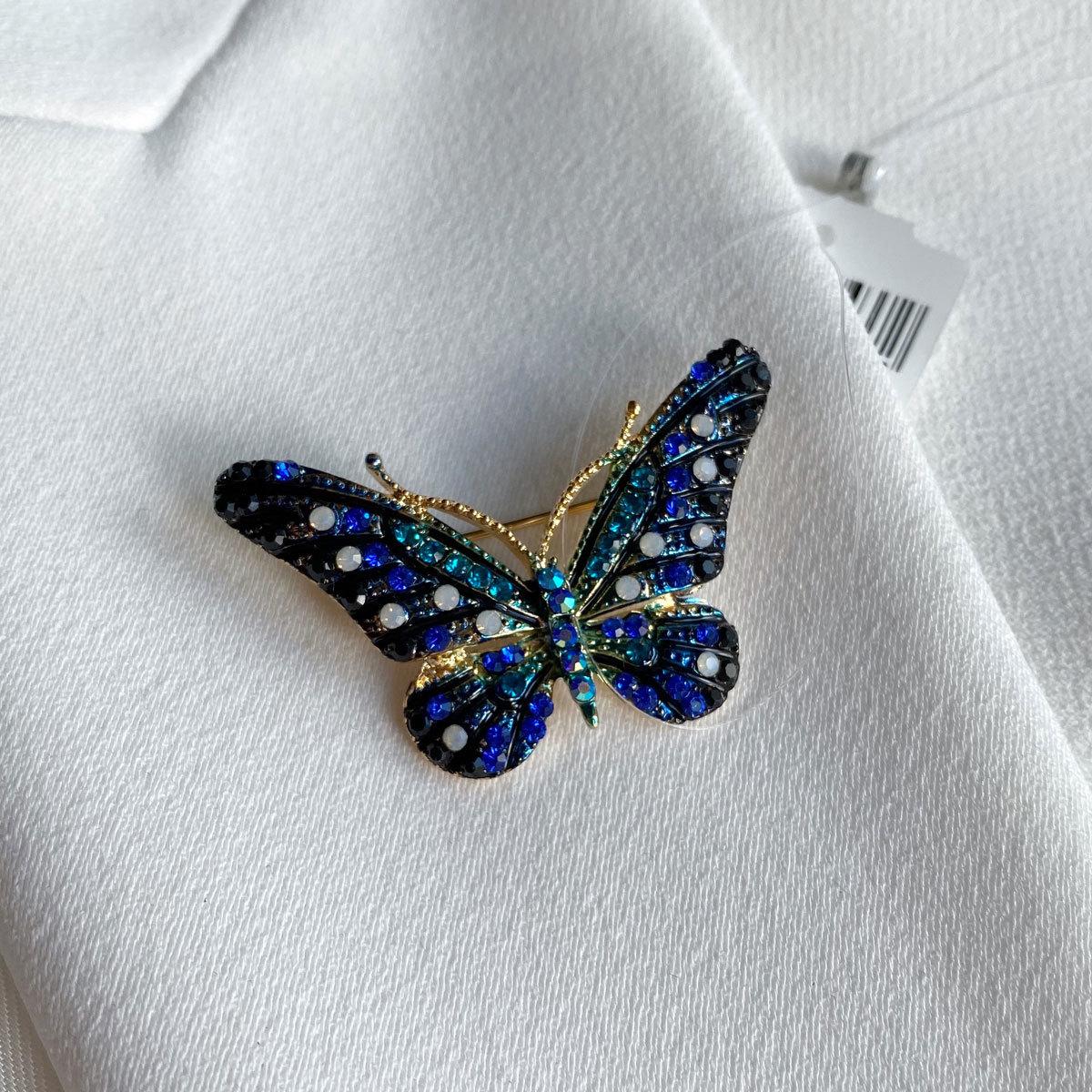 Брошь Бабочка мультифианит черный синий