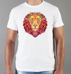 Футболка с принтом Лев (Lion) белая 0020
