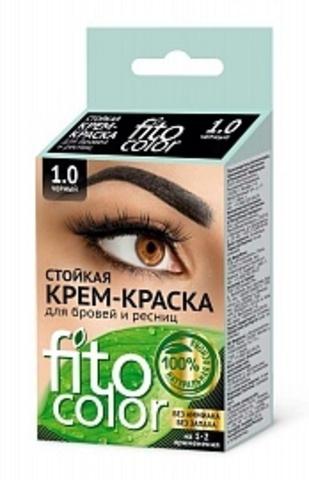FITOкосметик Стойкая крем-краска ЧЁРНЫЙ для бровей и ресниц (2прим)2х2мл, Fitocolor
