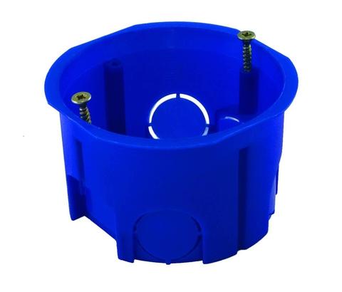 Установочная коробка СП D65х45мм, саморезы, синяя, IP20, TDM