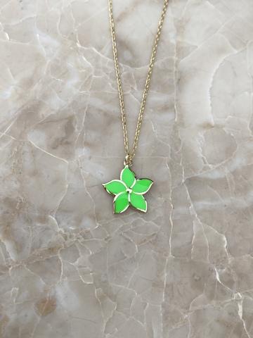 Колье Карамбола из серебра с зеленой эмалью