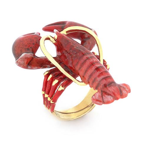 Кольцо Лобстер красный