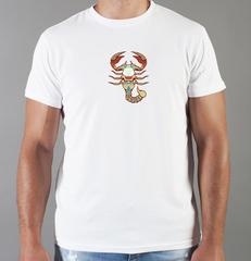 Футболка с принтом Знаки Зодиака, Скорпион (Гороскоп, horoscope) белая 0064