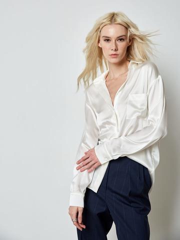 Блуза с карманом из шелка молочный
