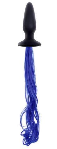 Чёрная анальная пробка с синим хвостом Unicorn Tails Blue
