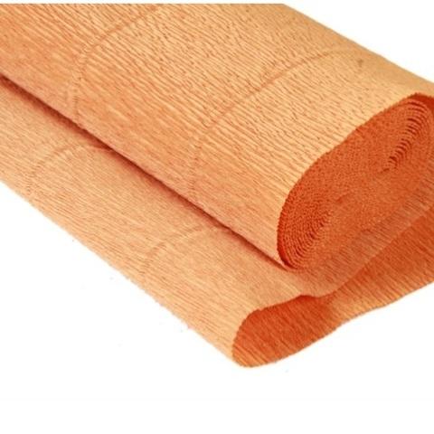 Бумага гофрированная, цвет 610 нежно-оранжевый, 180г, 50х250 см, Cartotecnica Rossi (Италия)