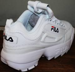 Гламурные кроссовки Fila Disruptor 2 all white RN-91175