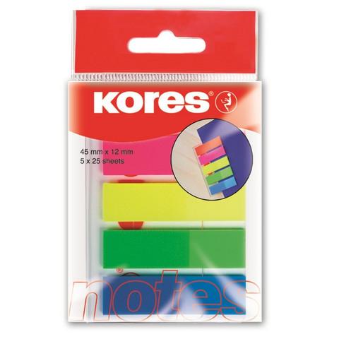 Клейкие закладки Kores Film пластиковые 5 цветов по 25 листов ширина 12 мм