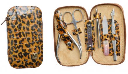 Маникюрный набор 5 предметов. РУЧНАЯ ЗАТОЧКА! СТАЛЕКС НМ-04/1 «Змейка», . Натуральная кожа. Цвет леопард.