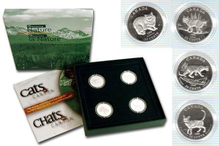 Набор из 4 монет Канада 50 центов 1999 год. Канадские кошки. Серебро