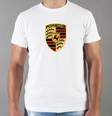 Футболка с принтом Порше (Porsche) белая 004