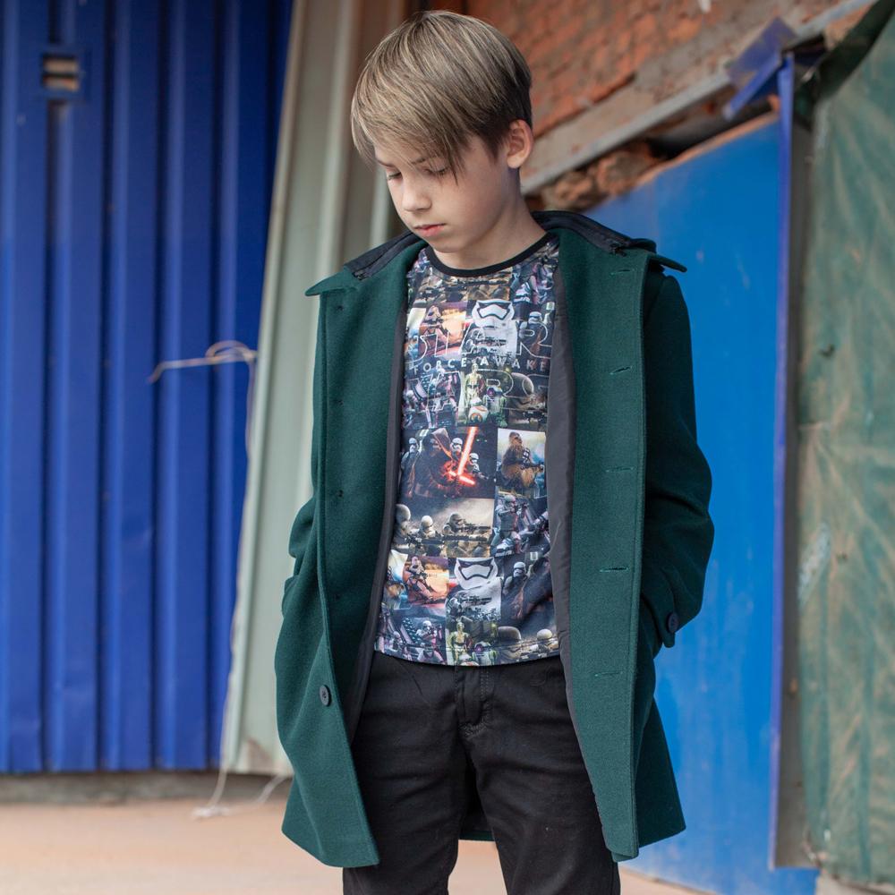Подростковое кашемировое пальто зеленого цвета на мальчика