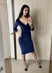 Валенсія. Ефектна молодіжна велюрова сукня. Синій