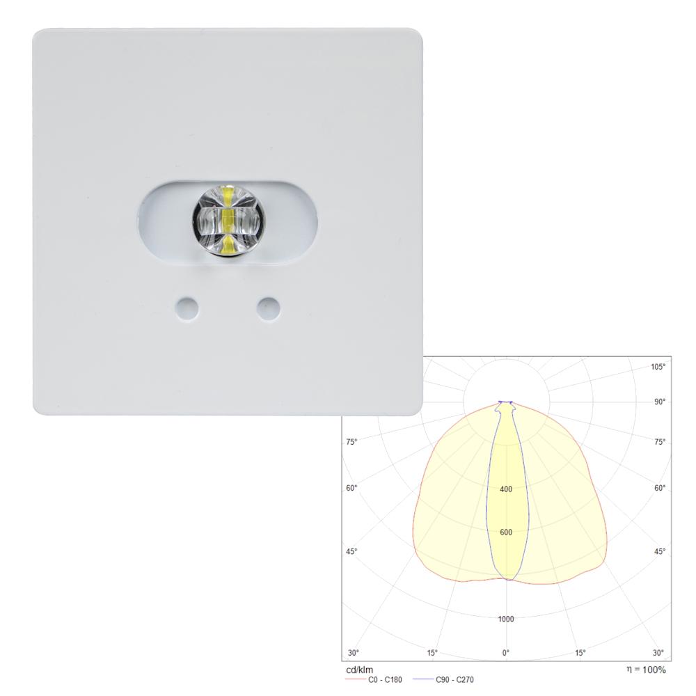 Аварийные квадратные светодиодные светильники эвакуационного освещения высоких помещений SLIMSPOT II Line MIDBAY Teknoware с диаграммой светораспределения