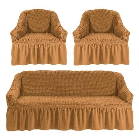 Комплект чехлов для дивана и двух кресел горчичный.