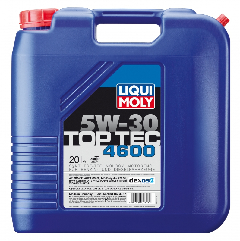 Liqui Moly Top Tec 4600 5W30 НС-синт. масло для MB, BMW, VAG, Ford, Opel (8033)