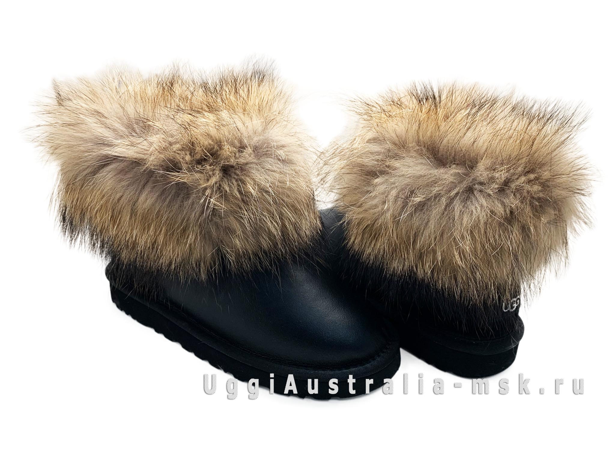 UGG Fox Fur Metallic Black