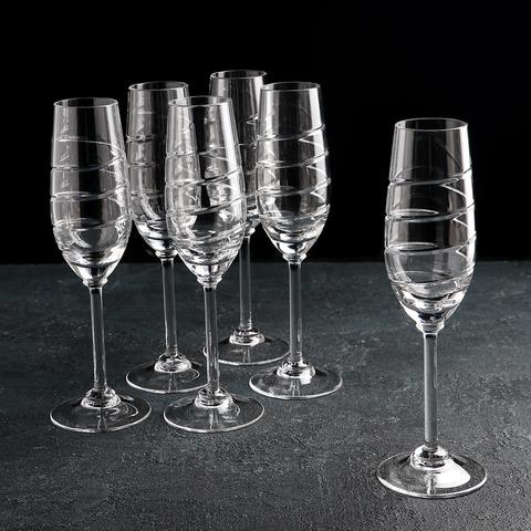 Набор бокалов для шампанского «Спираль», 160 мл, 6 шт