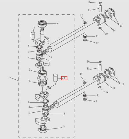 Втулка коленвала для лодочного мотора T9.8 Sea-PRO (3-3)