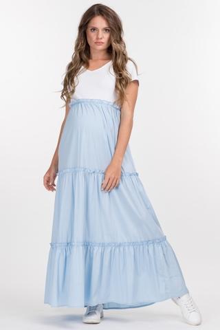 Платье для беременных и кормящих 10358 бело-голубой