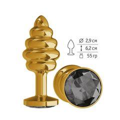 Анальная втулка Gold Spiral с черным кристаллом маленькая
