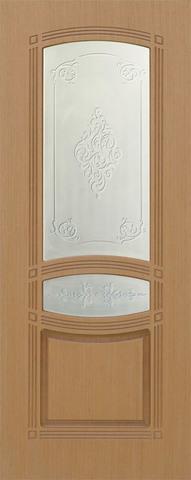 Дверь Троя-1 ДО (беленый дуб, остекленная шпонированная), фабрика Румакс