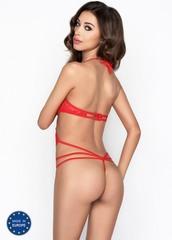 Кружевное боди с открытой грудью Adara красное