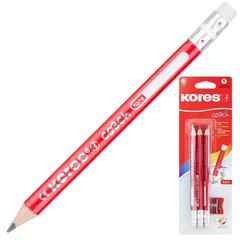 Набор чернографитных карандашей Kores Jumbo HB заточенные с ластиком (3 штуки в упаковке + точилка)