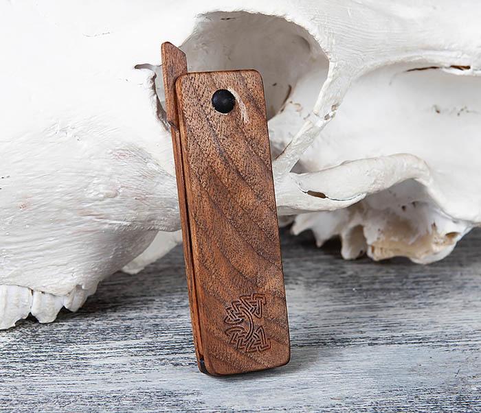 RAZ367 Деревянная складная расческа из ореха и граба фото 04