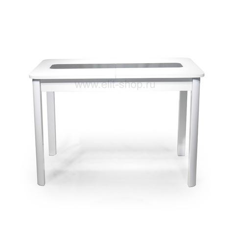 Стол ДУБАЙ 1 UNO Белый рис. черный / подстолье белое / опора №5 белая / 110(142)х70см