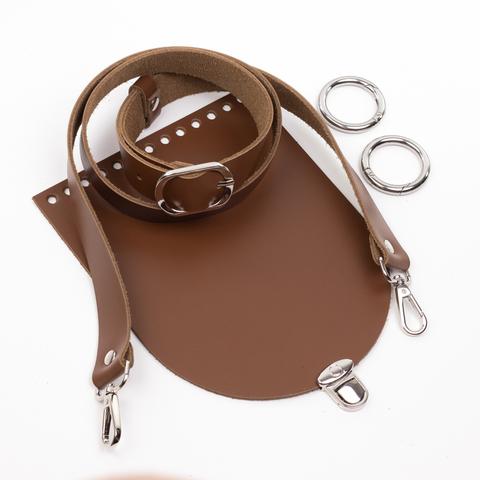 """Комплект для сумочки Орео """"Молочный шоколад"""". Ручка через плечо и замок """"Круг микро"""""""