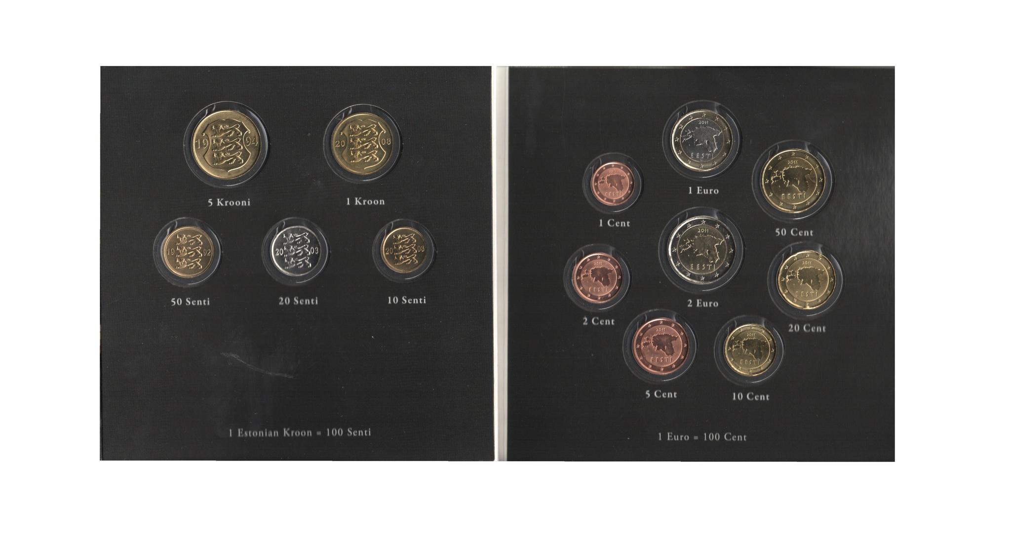 Набор монет 20 лет Евросоюзу. Эстония