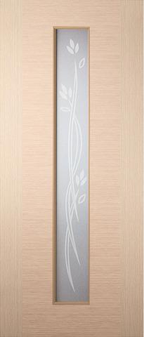 Дверь Кристалл-1 ДО (светлый дуб, остекленная шпонированная), фабрика Румакс