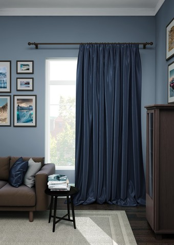 Готовая штора сатен Авери с подхватом темно-синий