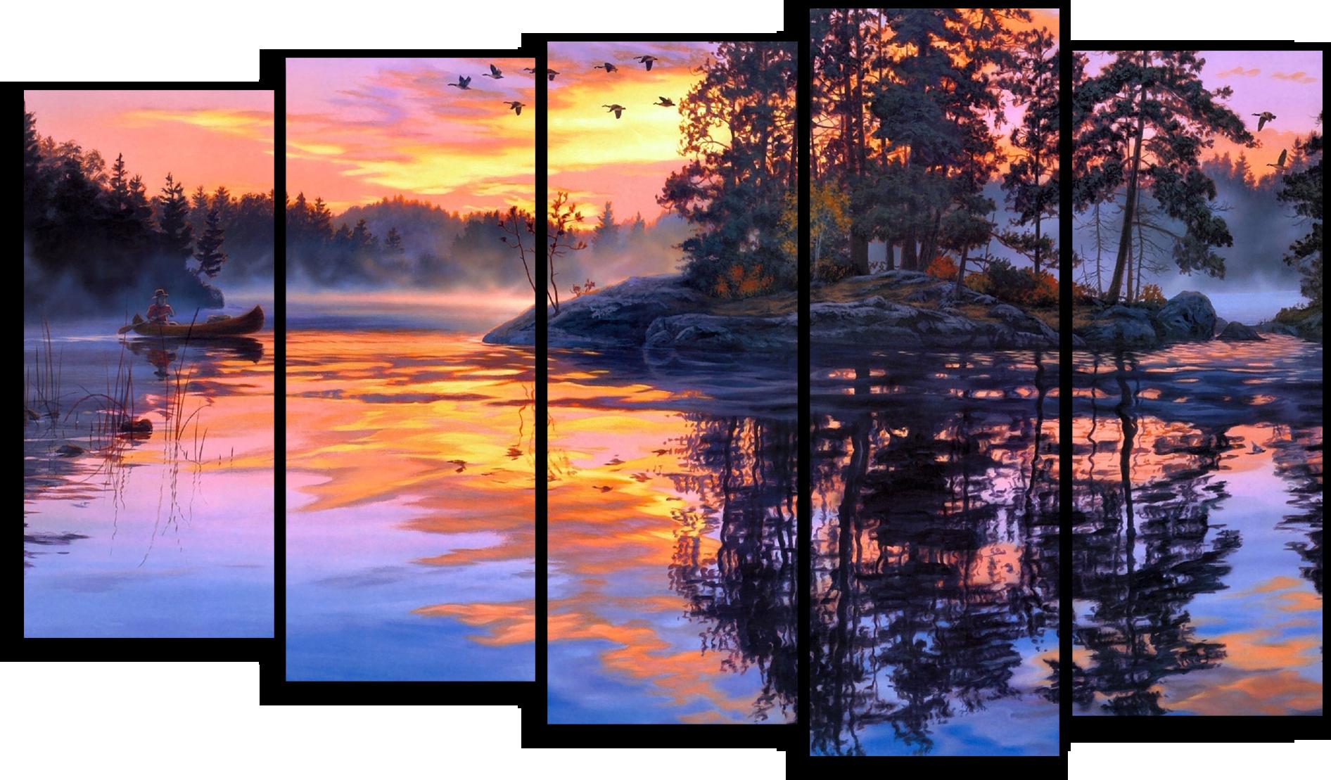 """Природа Модульная картина """"Закат в отражении"""" М449.png"""