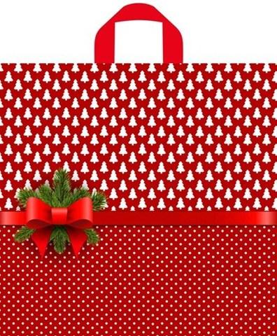 Новогодний пакет ПЭ с петлевой ручкой 44х42+6 (70) Т (Елочки-горошки) 50 шт