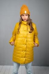Пальто на кнопках горчица
