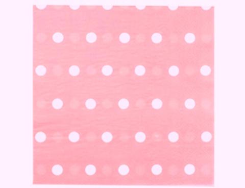 1502-3933 Салфетка Горошек розовая 33см 12шт/G