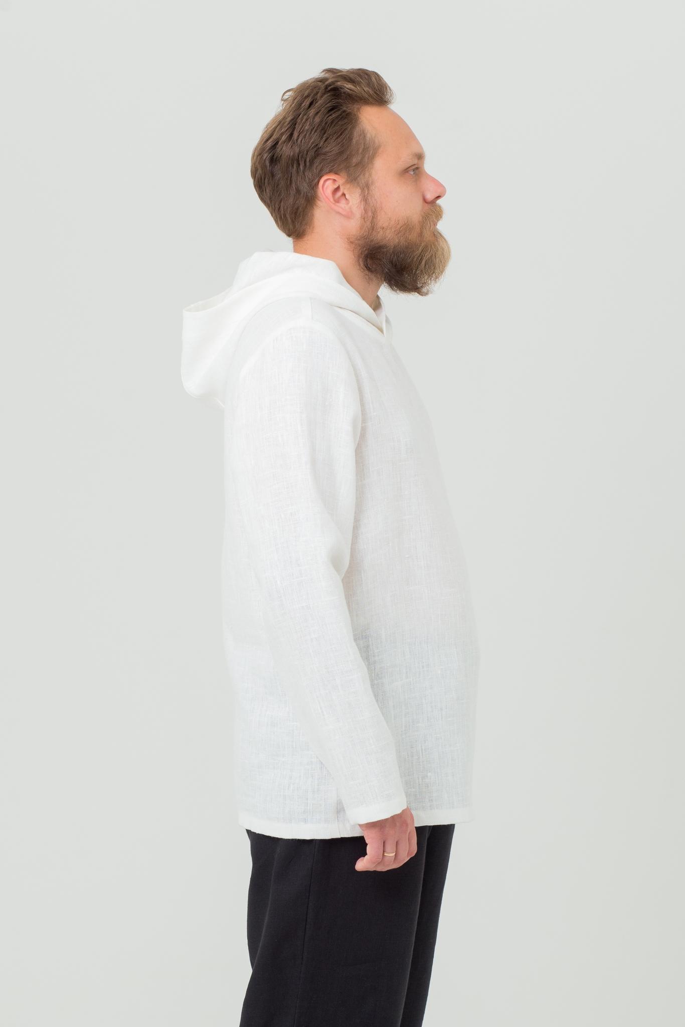 Льняная рубашка с капюшоном в русском стиле