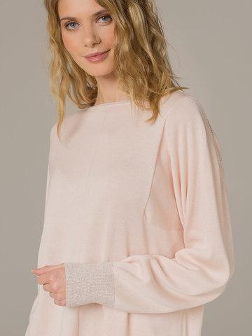 Женский джемпер светло-розового цвета из шелка и кашемира - фото 4