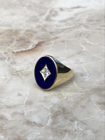 Печатка из позолоченного серебра с синей эмалью