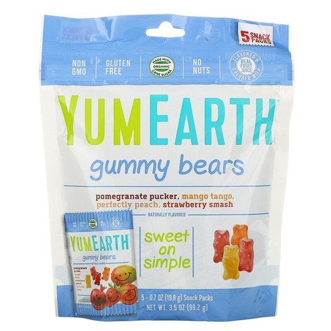 Жевательные мишки, вкусы в ассортименте, 5 упаковок снеков, вес каждой 19,8 г