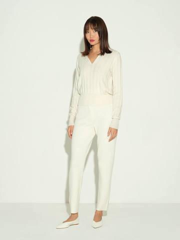Женские брюки молочного цвета из шерсти и шелка - фото 2
