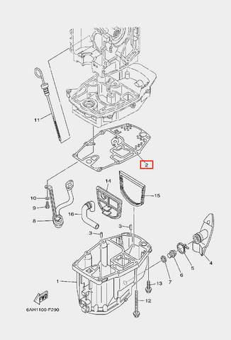 Прокладка поддона для лодочного мотора F20 Sea-PRO (22-2)
