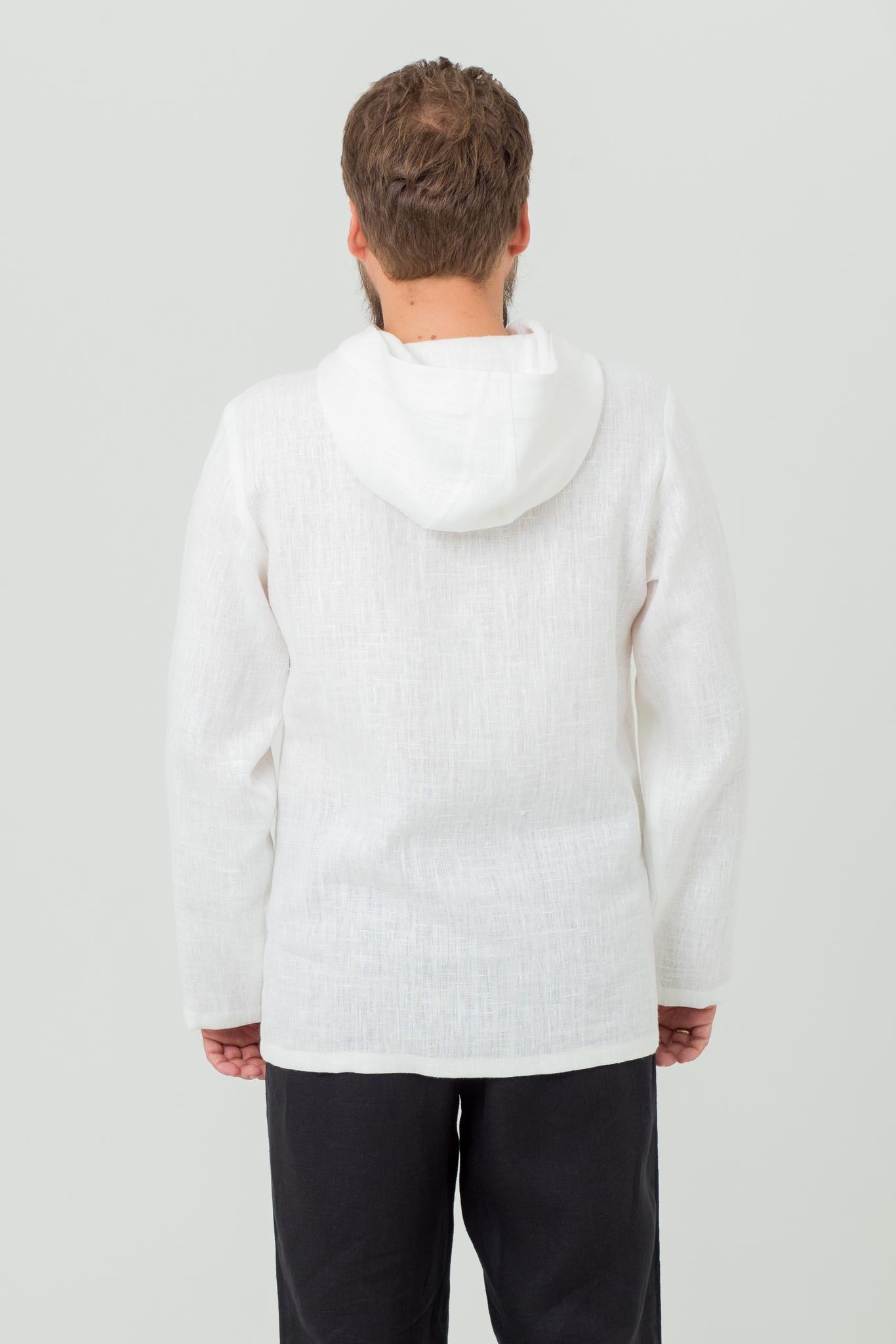 Мужская льняная рубашка с капюшоном Кузнец счастья