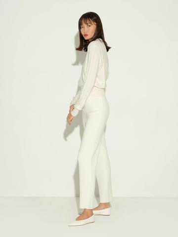 Женские брюки молочного цвета из шерсти и шелка - фото 4