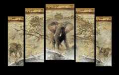 """Модульная картина """"Африканские слоны"""""""