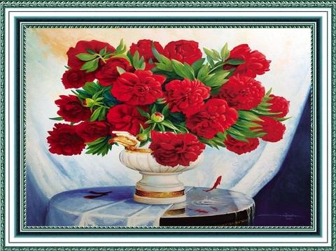 Алмазная Мозаика 30x40 Букет красных пионов в вазе (арт. HWB0832 )