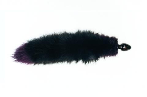 Анальная пробка черного цвета диам.60мм с фиолетовым лисьим хвостом BF60black/purple