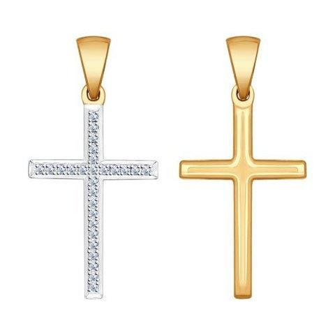 1030507- Крестик из золота с бриллиантами
